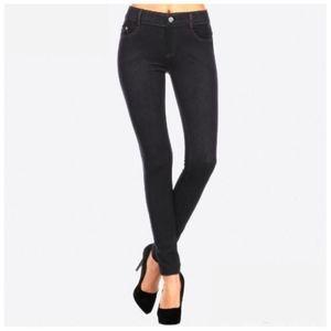 Pants - Dark Embellished Jean Look Leggings